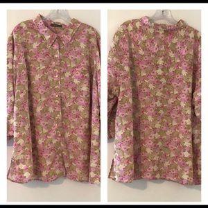 Liz Claiborne tunic length button down blouse